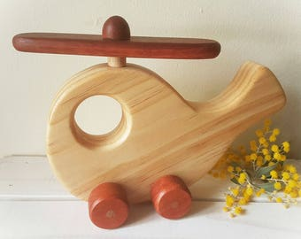 Helicopter - Wooden Vehicle Toy, Natural Finish