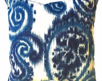 Pillow Pillows Cover Outdoor Indoor - Navy Indigo Ivory Paisley Ikat Throw pillow Accent Decor Patio 14x14, 12x18