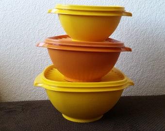 Vintage Tupperware Servalier Bowls set of 3 with Lids Harvest yellow burnt orange 836-4, 838-2, 840-8