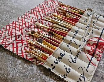 Artist Brush Roll - Paint Brush Roll - Artist Case - Artist Gift - Paint Brush Holder - Artist Supplies - Mixed Media Roll - Brush Organizer