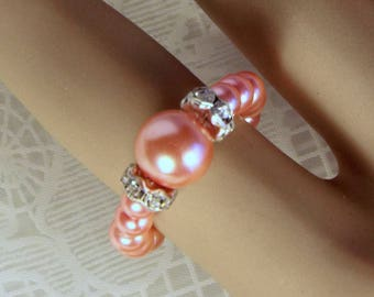 "Cynthia Lynn ""PINK FROSTING"" Pink Glass Pearl and Rhinestone Beaded Silver Stretch Ring"