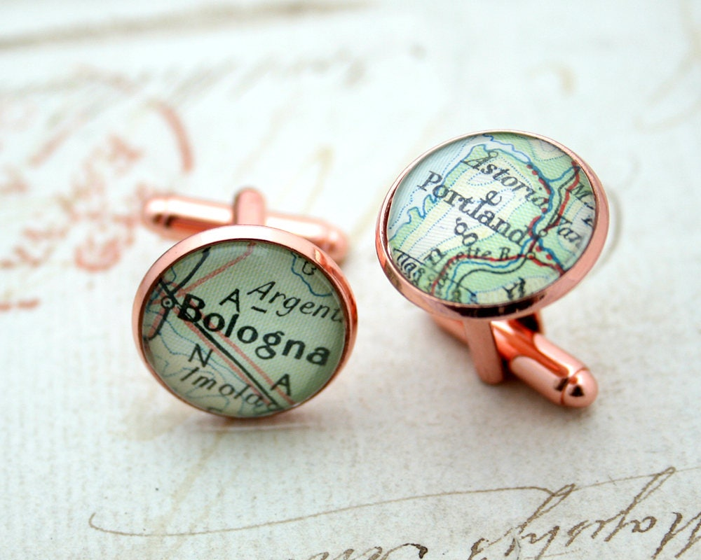 Christmas Gifts Rose Gold Cufflinks with Custom Map Long Distance ...