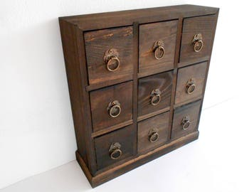 Wooden Drawers Box  9 Drawers  Jewelry Chest Of Drawers  Apothecary  Cabinet  Desktop