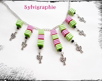 Crystal fancy colored and cactus necklace