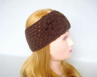 Womens crochet headband Crochet headband ear warmer Winter headband Crochet head band with flower Winter headwrap Crochet earwarmer