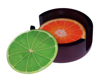 Citrus Fruit Glass Coaster Set - Caddy Included- 4 Piece  Coaster Set -  Wood Box Caddy Included