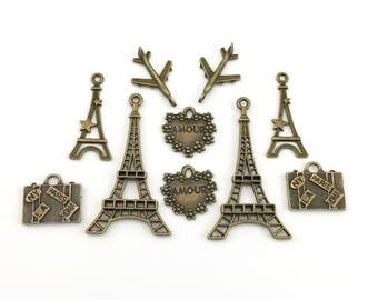 10 Paris charms collection bronze tone ,22mm to 44mm #CH371