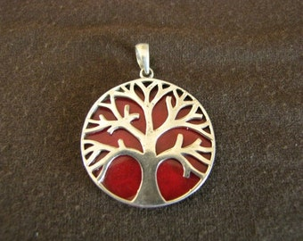 Sterling Silver Red Coral Tree of Life Pendant