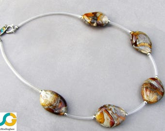 Glass necklace-Lampwork necklace-Murano glass necklace-Mondo collection Amber