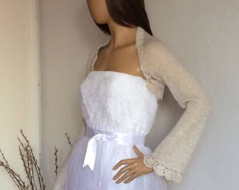 Bridal Shrug, Wedding Bolero, Bridal Cover Ups, Champagne Bridal Dress Topper