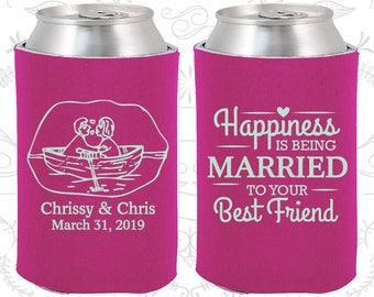 Happiness is Being Married to your Best Friend, Custom Gifts, Bride and Groom, Nautical Wedding Gift, Wedding Beer Coolies (513)