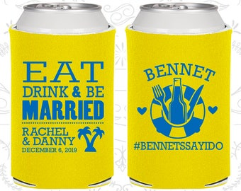 Eat Drink and Be Married, Personalized Favors,Tropical Wedding Favors,Beach Wedding Favors,Cruise Wedding Favors,Cheap Can Coolers (423)