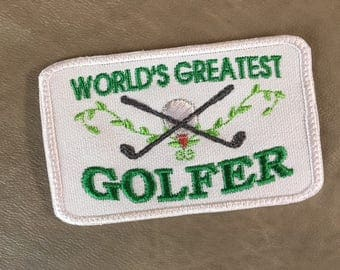 """WORLD'S GREATEST GOLFER Patch - Iron On, Sew On, 4"""" x 2.5"""", Gifts for Golfers, Gifts for Men, Gifts for Women, Golfer Patch, Ships 1-2 Days!"""
