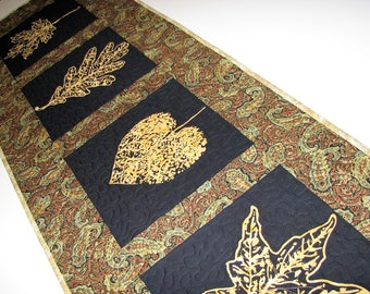 Autumn Quilted Table Runner, Black and Gold Leaf Quilted Table Mat, Elegant Paisley Table Runner, 16 in. x 46 in., Quiltsy Handmade