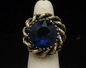 Statement Ring with Large Blue Stone