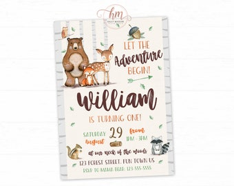 Woodland Invitation, Woodland Birthday Invitation, Forest Friends, Adventure, Woodland boy Invitation PRINTABLE FILE