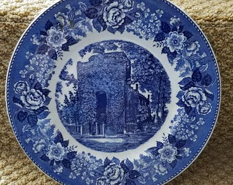 Vintage Old English Staffordshire Ware Plate Old Church Tower Jamestown