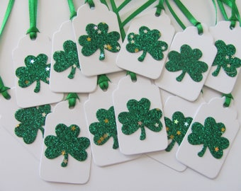 Shamrock Tags, St. Patrick's Day Gift Tags, Shamrock Gift Tags, Irish Tags, Clover Tags, Shamrock Tags, St. Patrick's Day Tags, Set of 12