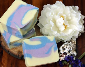 Sweet Coralline, shea butter soap, travel necessities, guest size, palm free, small batch cold process, olive oil soap, ocean scent, summer
