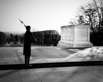 "Washington DC, Black and White Photography, Fine Art Print, Arlington, Tomb of the Unknown, Wall Decor, Poster, Color Option - ""The Unknown"""