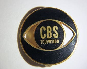 vintage CBS tv ENAMEL metal lapel pin black gold