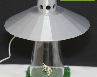Silver UFO Alien Abduction Desk Lamp Cow Farm Sci Fi Spaceship Outerspace  Space Bedroom Night Light