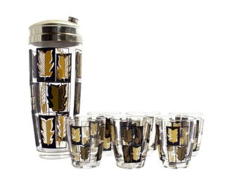 Black & Gold Cocktail Shaker Set - Glass Tumblers - Cocktail Set - Martini Shaker - Happy Hour - Shot Glasses - Mid Century Modern