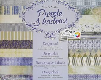 "Set of 12 leaves duplex 30, 5 x 30, 5 cm ""Purple Shadows"" scrapbooking"