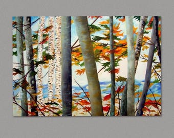 Aspen Tree Painting Birch Tree abstract Painting on Art board, framed, Autumn Birch Forest, Forest Painting Wall Art by Susie Tiborcz