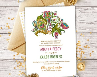 The Gucha Collection - Jewel Tone Paisley Invitation for Engagement, Save The Date, Henna Parties, Diwali or Bridal Showers