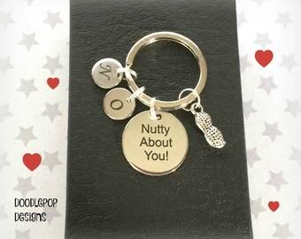 Valentine's gift for him - Nutty about you keyring - Peanut keychain - Boyfriend gift - Husband gift - Valentine keyring for him - UK seller