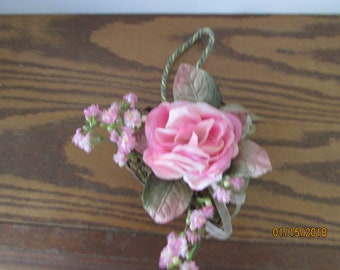 small heart shaped pink  hanging heart flower girl basket