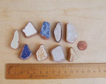 Italian mix of thick coloured Sea Pottery. Lot of Beach pottery for mosaics, magnets or jewels: white, beige and blue