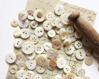 Mother of pearl button lot small antique buttons