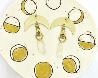 Brass Lasso the Moon Earrings with Crescents, Hands, and Quartz Points