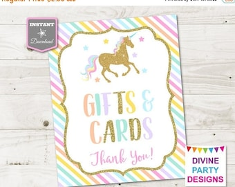 SALE INSTANT DOWNLOAD Printable Unicorn 8x10 Gifts and Cards Party Sign / Unicorn Collection / Item #3507