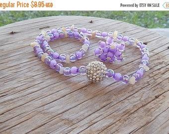ON SALE REDUCED Price Girls Jewelry Set-Lavender Necklace Bracelet and Ring Set-Girls Adjustable Ring