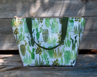 Insulated Lunch Tote, Reusable Lunch Bag, Water Resistant Bag, Cactus Tote Bag,