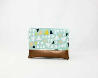 MIDI bag - copper Mint triangles - bag - purse - make-up bag - cellphone - vegan leather - wallet and purse - make-up bag