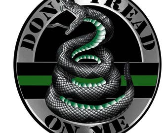 Thin Green Line Do Not Tread On Me Reflective Decal - 4 in SKU: D719-0002