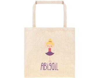 Ballerina Personalized School Tote Bag // Custom Ballet Book Bag // Dance Gear Personalized Tote Bag