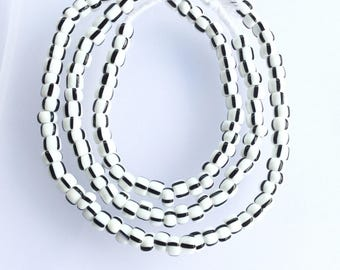 Vintage black and white African glass beads