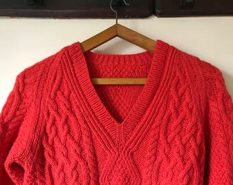 SALE // Vintage Pure Irish Wool Red Aran Jumper/Sweater - V-Neck - Cableknit - Handknitted
