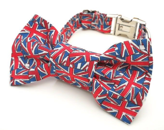 Featured listing image: Royal Wedding Red, White and Blue Union Jack Dog collar Dog Bowtie or Dog Bowtie Collar Set
