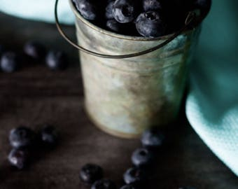 Food photography print - 8x12 or 8x10 -Blueberries Photo Print - Fruit Photography print