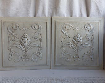 Set of 2 antique french painted Renaissance style sculpted wood panels. Jeanne d'Arc living. Gustavian decor. Carved wood panel