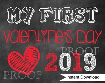 Baby's First Valentine's Photo Prop Chalkboard Sign 11x14 // INSTANT DOWNLOAD