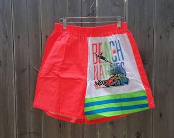Vintage 1980s Neon Peach Pink DayGlo Beach Natives A.D. & Co. Swim Trunks Bathing Suit