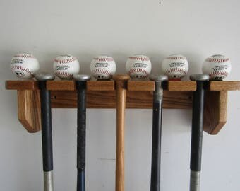 Oak Wood Baseball Bat Rack Wall Shelf 5 bat display