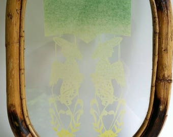 Vintage Chinese Paper Cut Art in Bamboo Frame